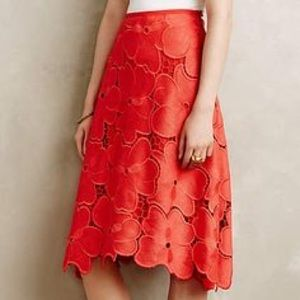 Anthropologie Cynthia Rowley Red Floral skirt